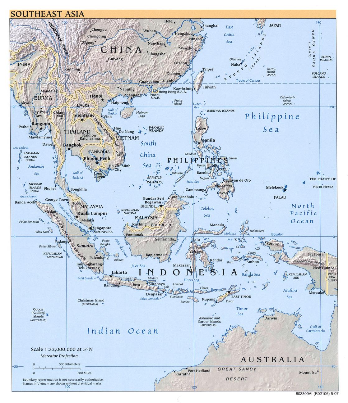 Mapa Físico del Sureste Asiático 2007