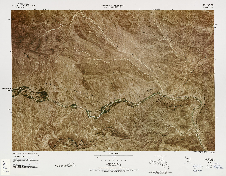 Mapa Fronterizo de México-Estados Unidos, Big Canyon 1982