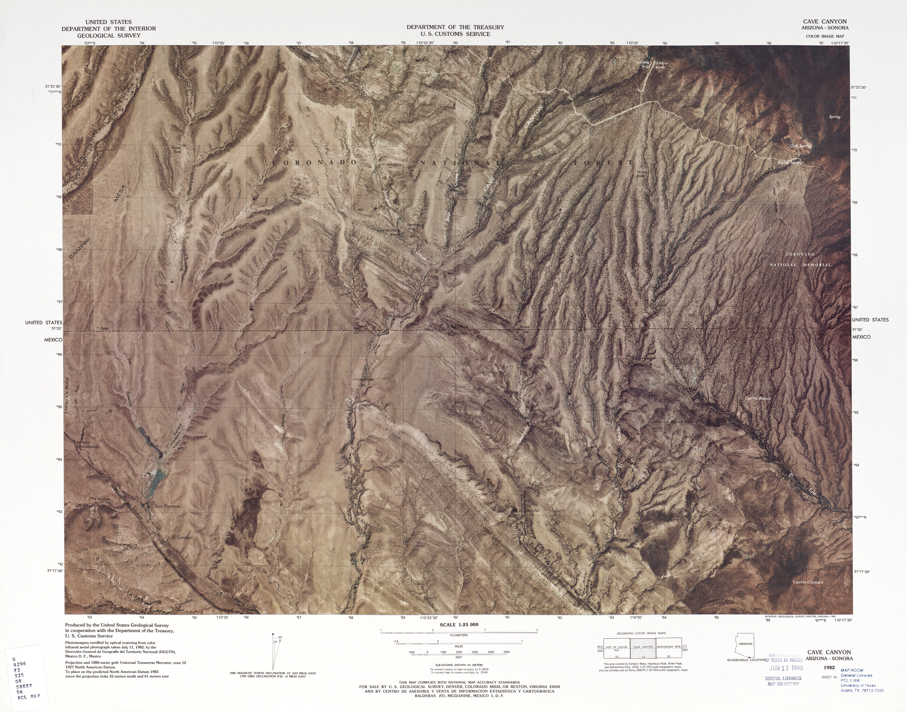 United States-Mexico Border Map, Cave Canyon
