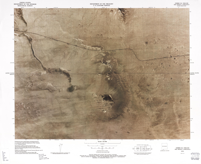 Mapa Fronterizo de México-Estados Unidos, Cerro El Volcan 1979