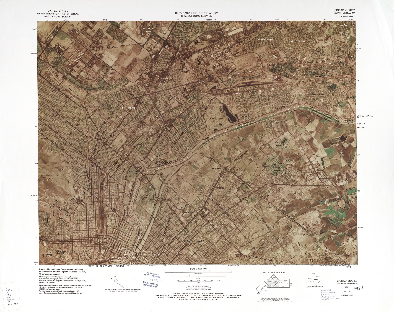 Mapa Fronterizo de México-Estados Unidos, Ciudad Juarez 1982