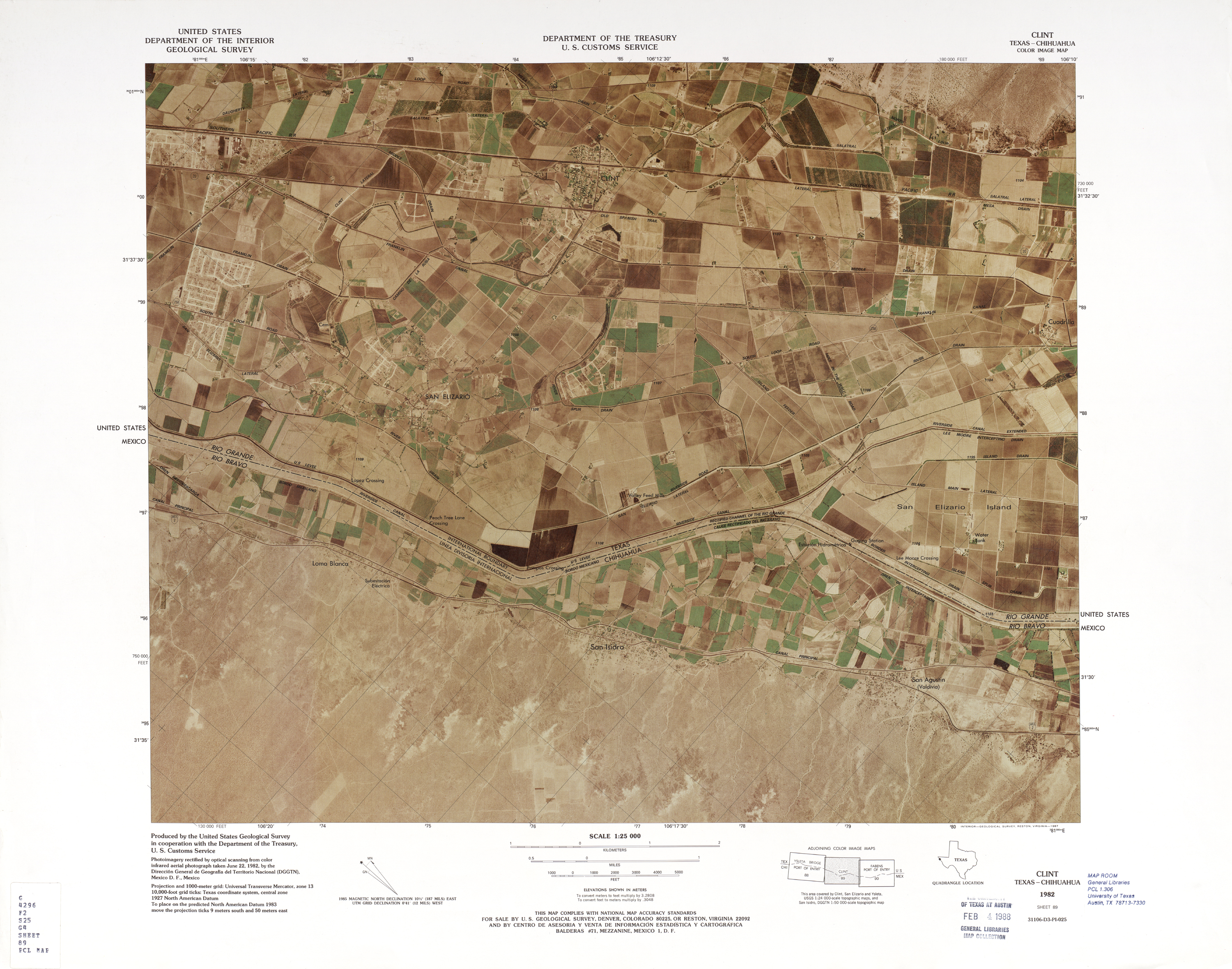 United States-Mexico Border Map, Clint