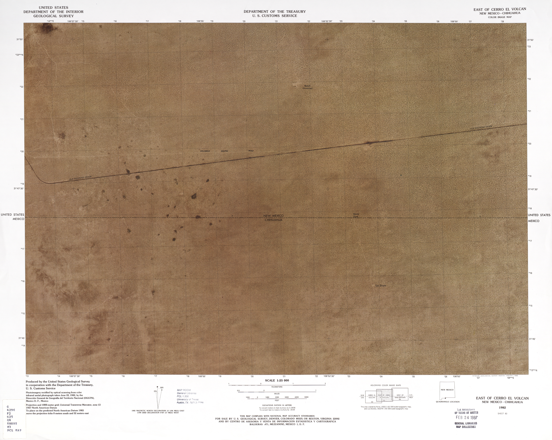 Mapa Fronterizo de México-Estados Unidos, Este de Cerro El Volcan 1982