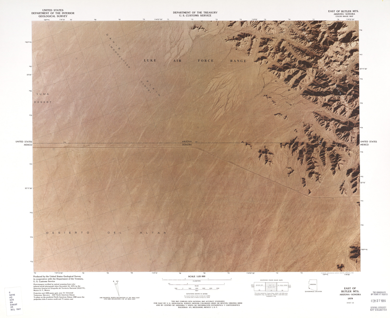 Mapa Fronterizo de México-Estados Unidos, Este de Montañas Butler 1979
