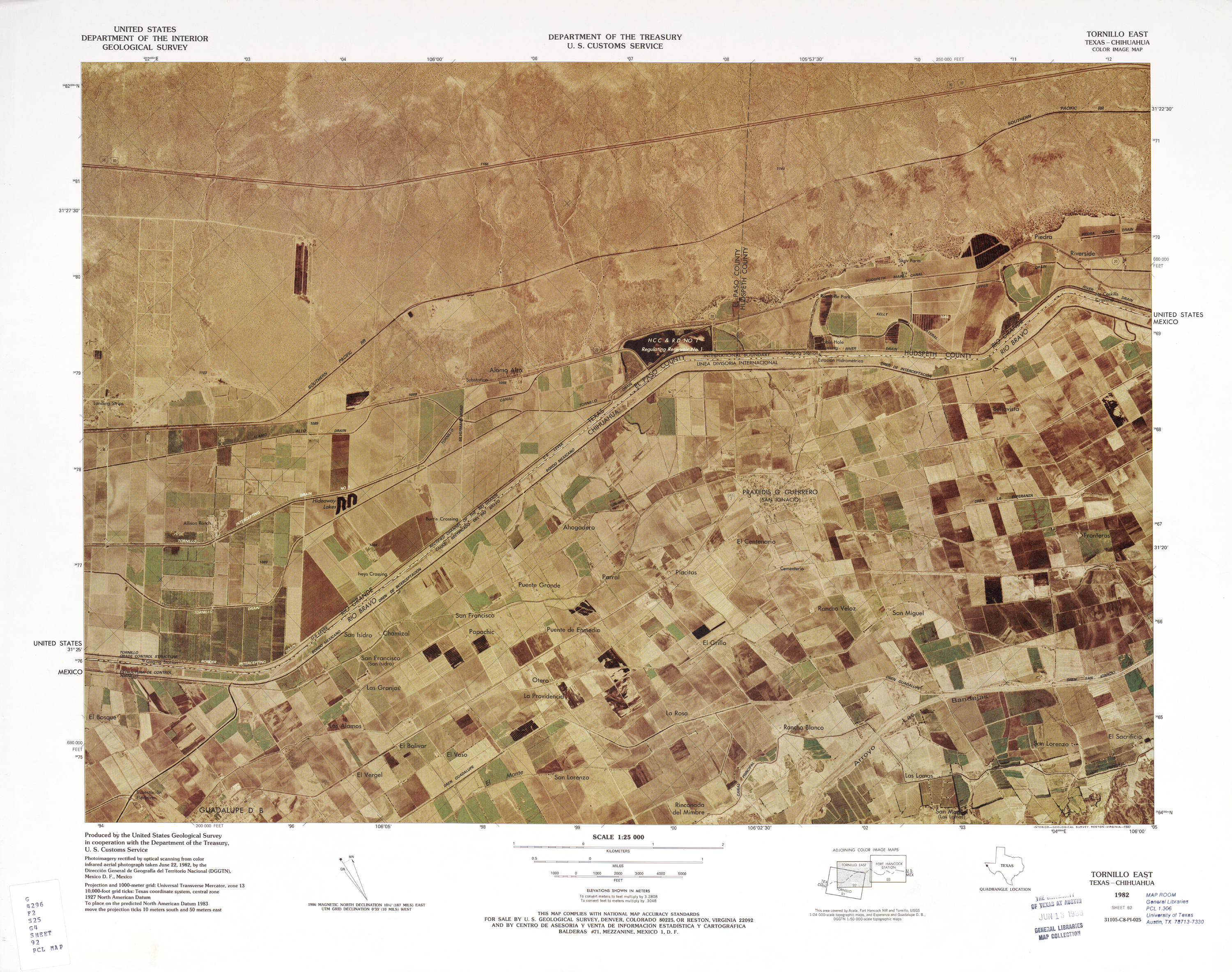 United States-Mexico Border Map, Tornillo East