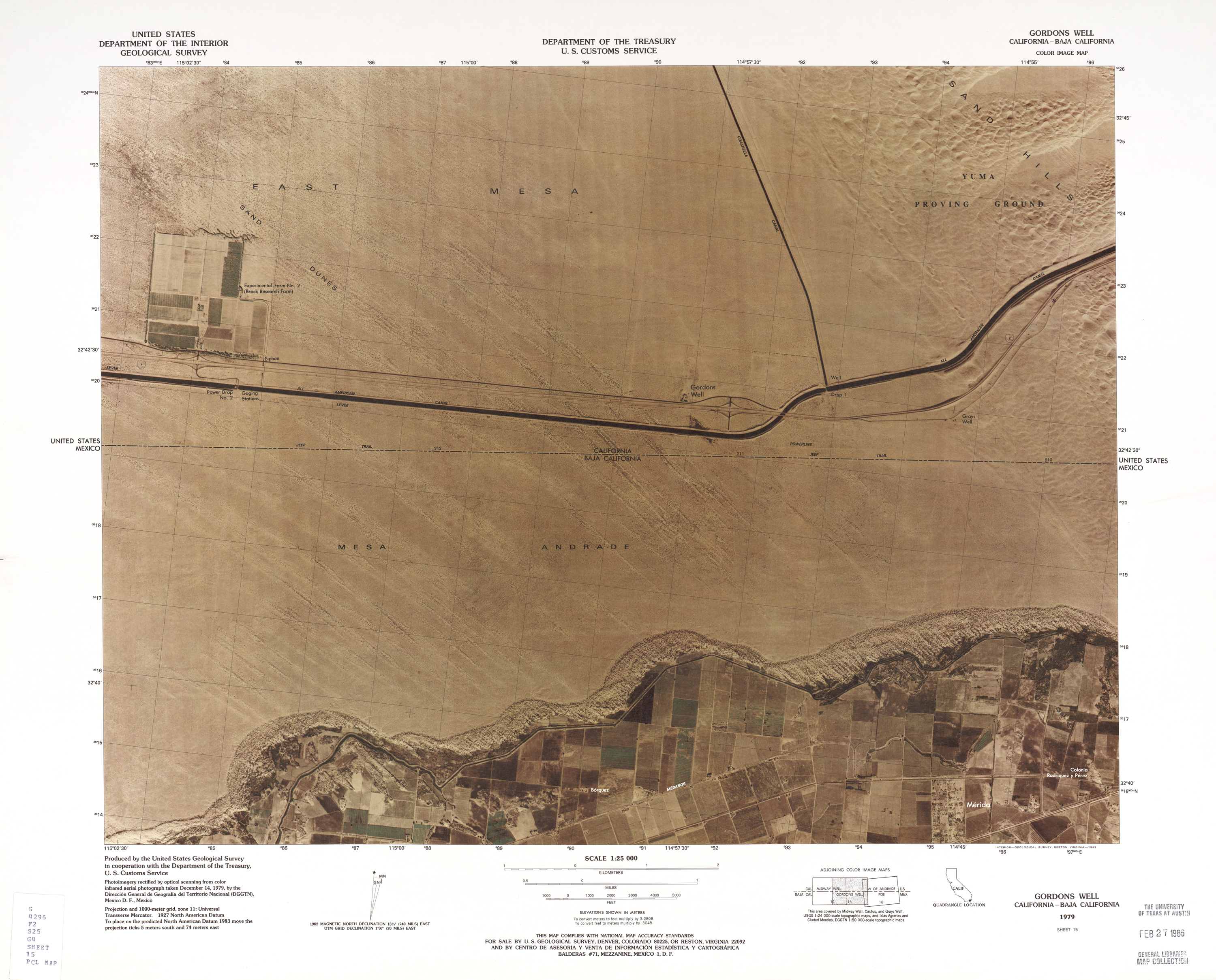 United States-Mexico Border Map, Gordons Well