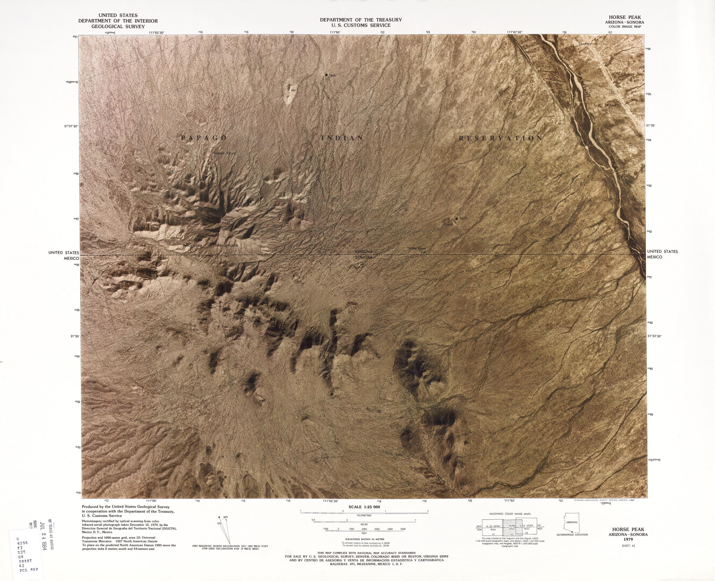 United States-Mexico Border Map, Horse Peak