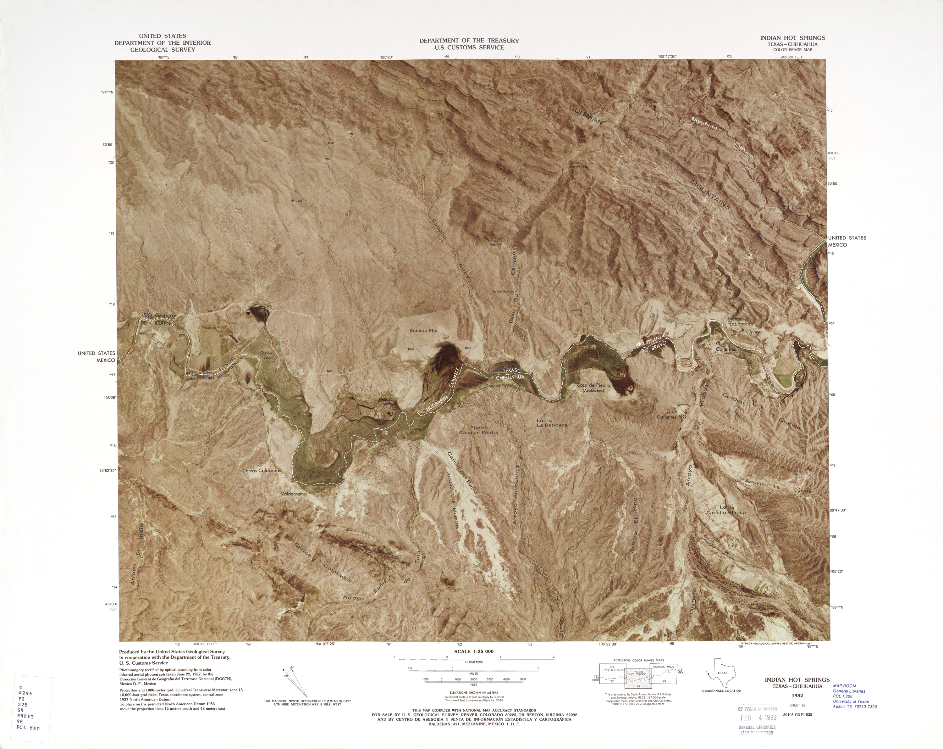 United States-Mexico Border Map, Indian Hot Springs