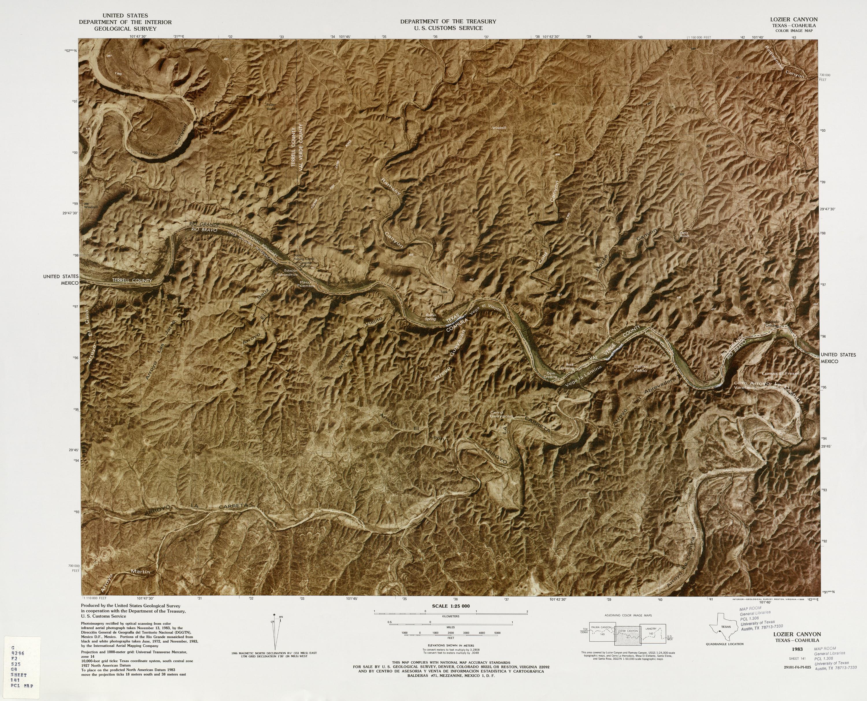 Mapa Fronterizo de México-Estados Unidos, Lozier Canyon 1983