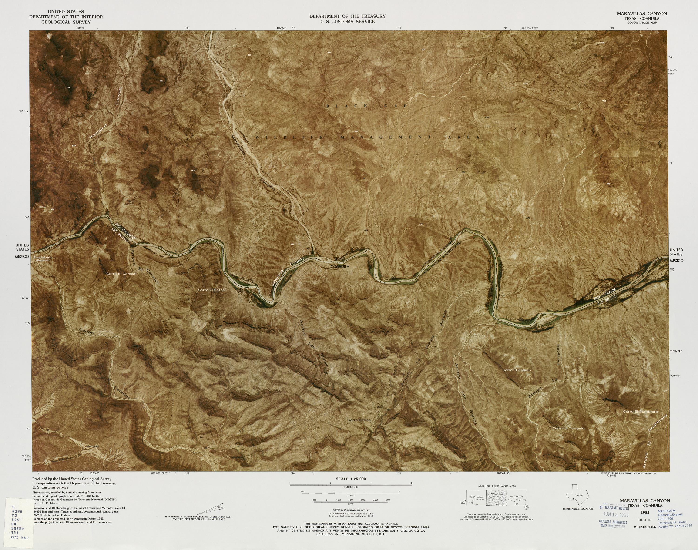 Mapa Fronterizo de México-Estados Unidos, Maravillas Canyon 1982