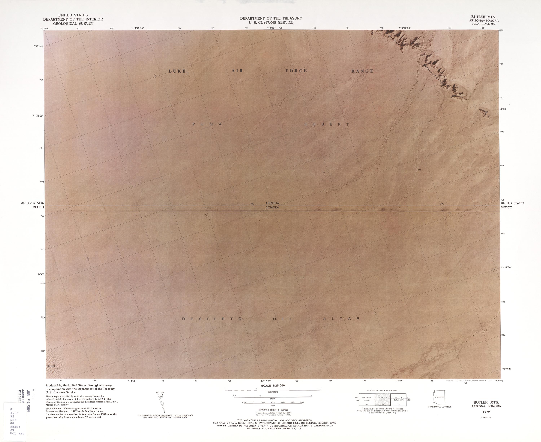 Mapa Fronterizo de México-Estados Unidos, Montañas Butler 1979