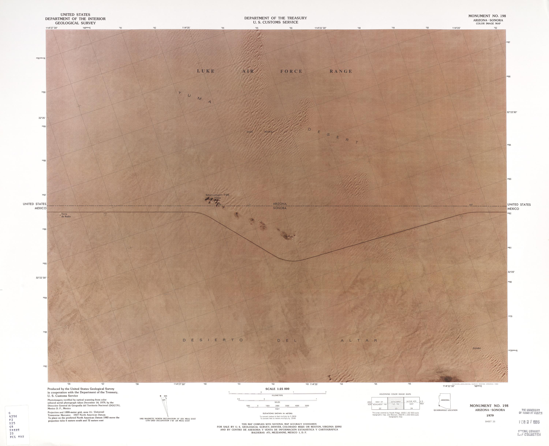 Mapa Fronterizo de México-Estados Unidos, Monumento No. 198, 1979