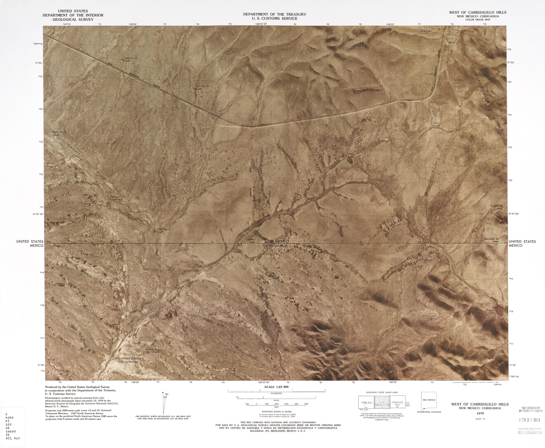 Mapa Fronterizo de México-Estados Unidos, Oeste del Cerro Carrizalillo 1979