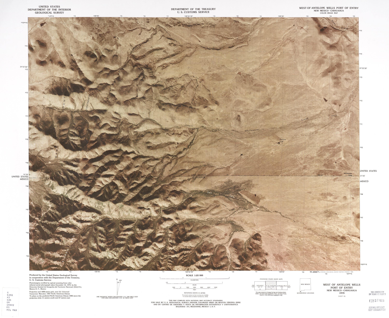 Mapa Fronterizo de México-Estados Unidos, Oeste del Puerto de Entrada de Antelope Wells 1979