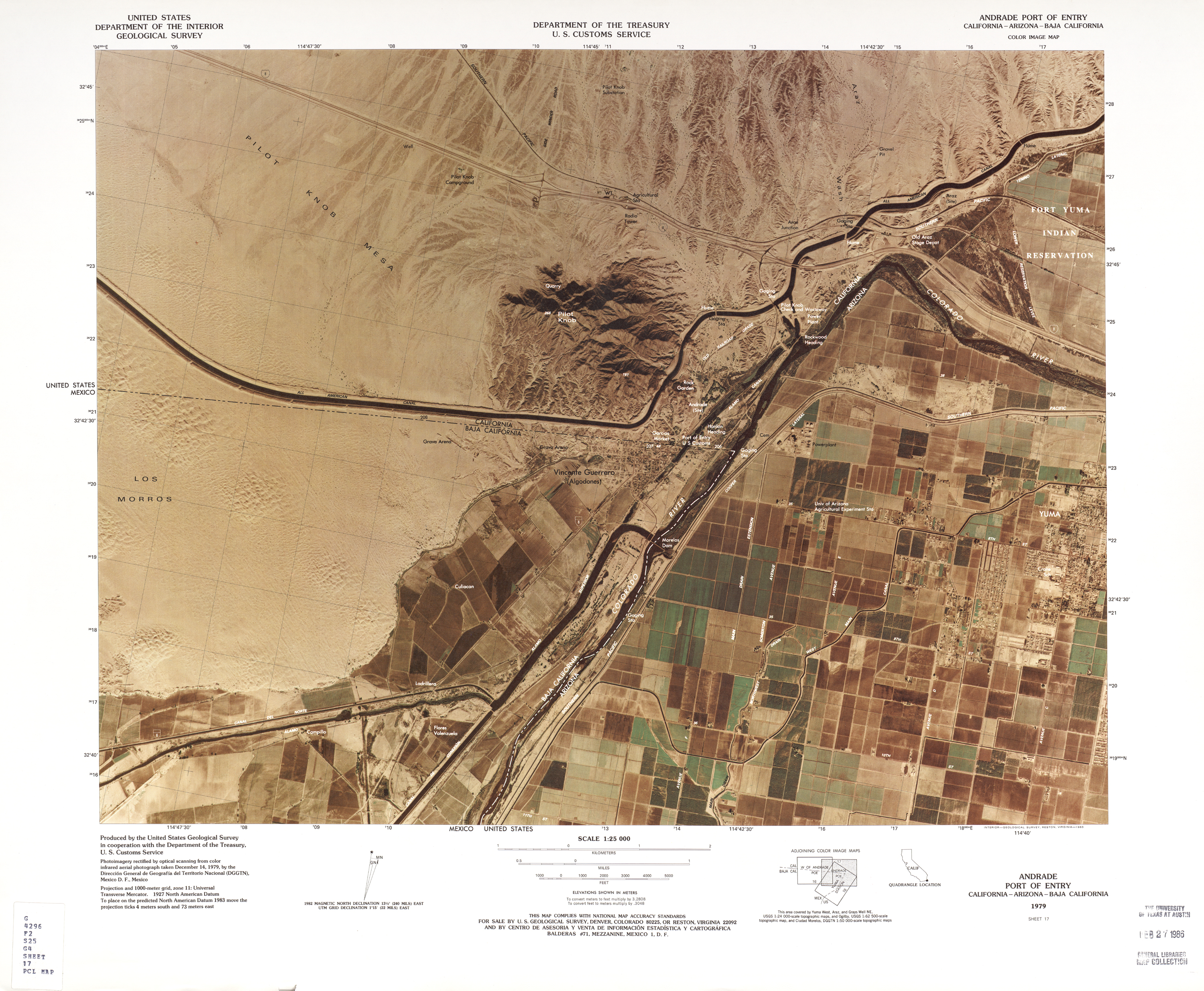 Maps of United States-Mexico Border Map, Andrade Port of ...