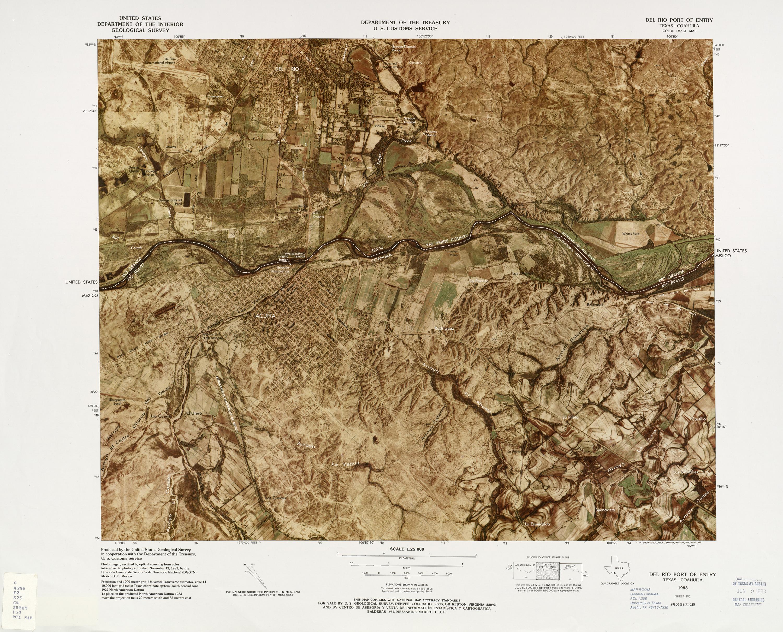 United States-Mexico Border Map, Del Rio Port of Entry