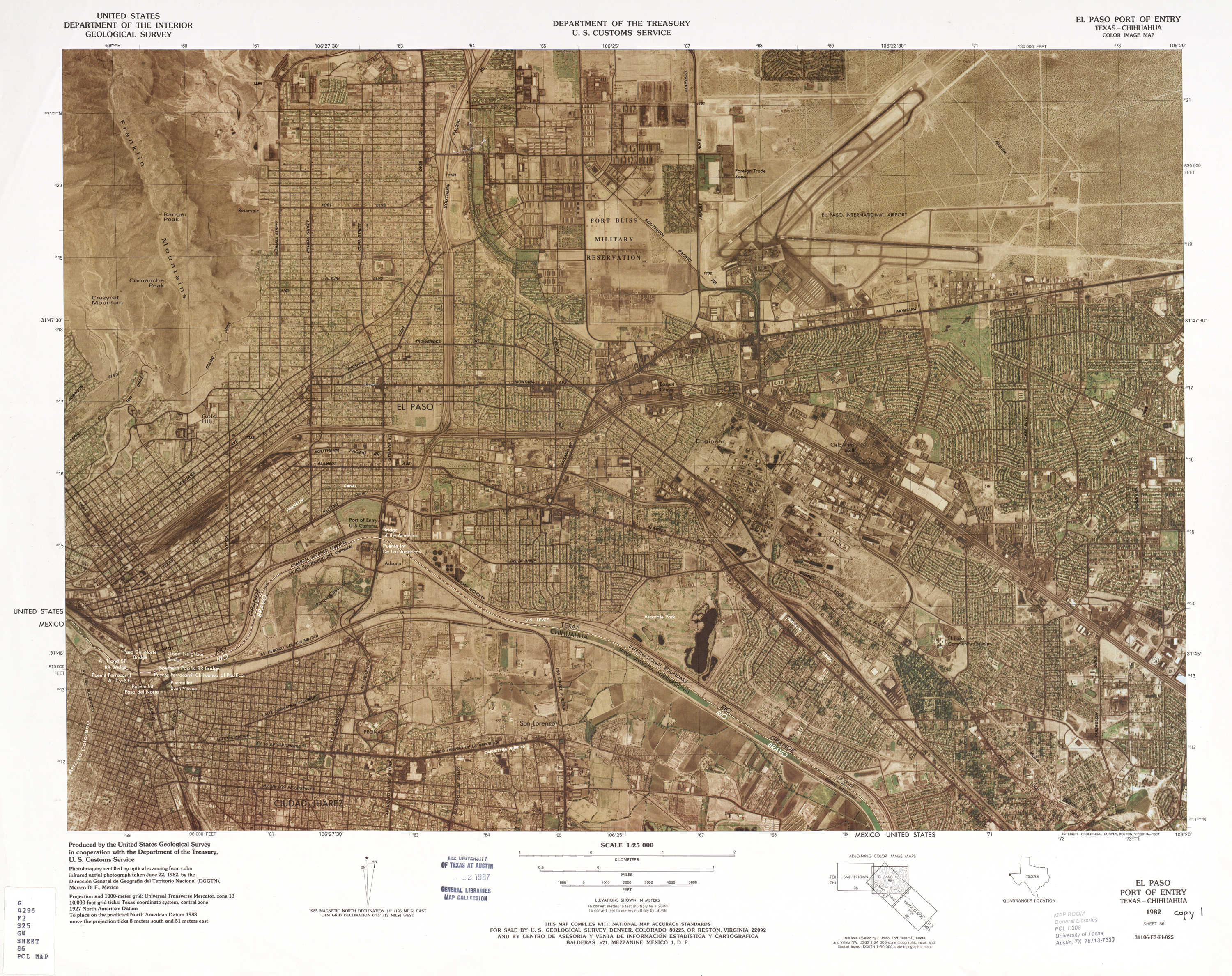 United States-Mexico Border Map, El Paso Port of Entry