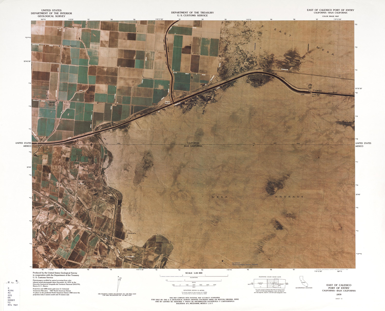 Mapa Fronterizo de México-Estados Unidos, Puerto de Entrada Este de Calexico 1979