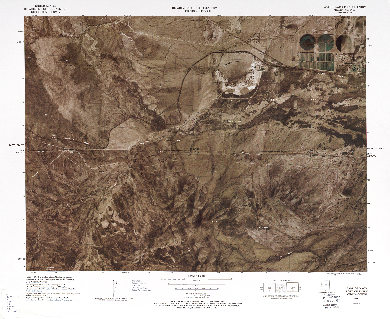 Mapa Fronterizo de México-Estados Unidos, Puerto de Entrada Este de Naco 1982