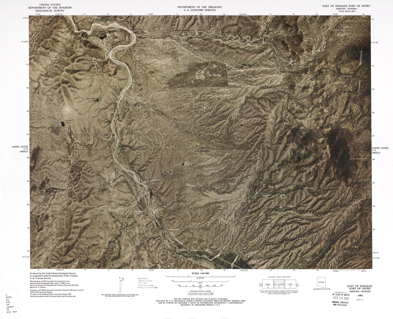 Mapa Fronterizo de México-Estados Unidos, Puerto de Entrada Este de Nogales 1982