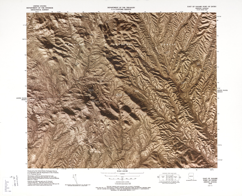 Mapa Fronterizo de México-Estados Unidos, Puerto de Entrada Este de Sasabe 1979