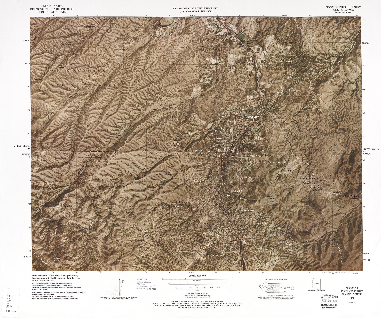 Mapa Fronterizo de México-Estados Unidos, Puerto de Entrada Nogales 1982