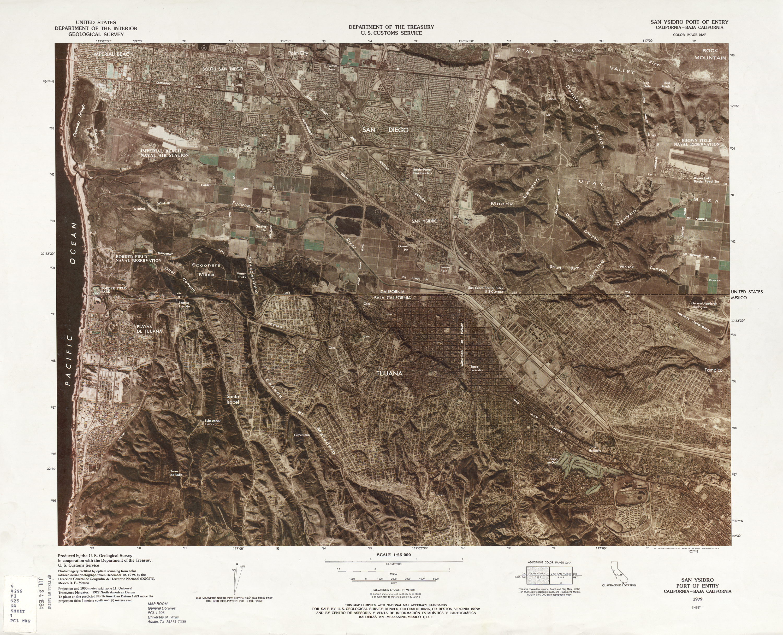 United States-Mexico Border Map, San Ysidro Port of Entry