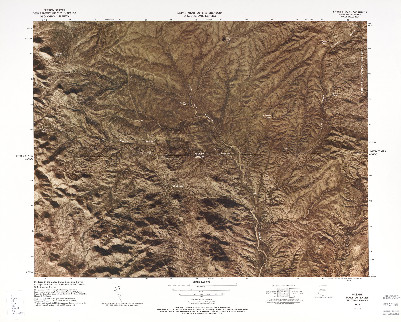 Mapa Fronterizo de México-Estados Unidos, Puerto de Entrada Sasabe 1979