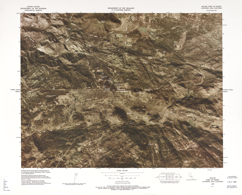Mapa Fronterizo de México-Estados Unidos, Puerto de Entrada Tecate 1979