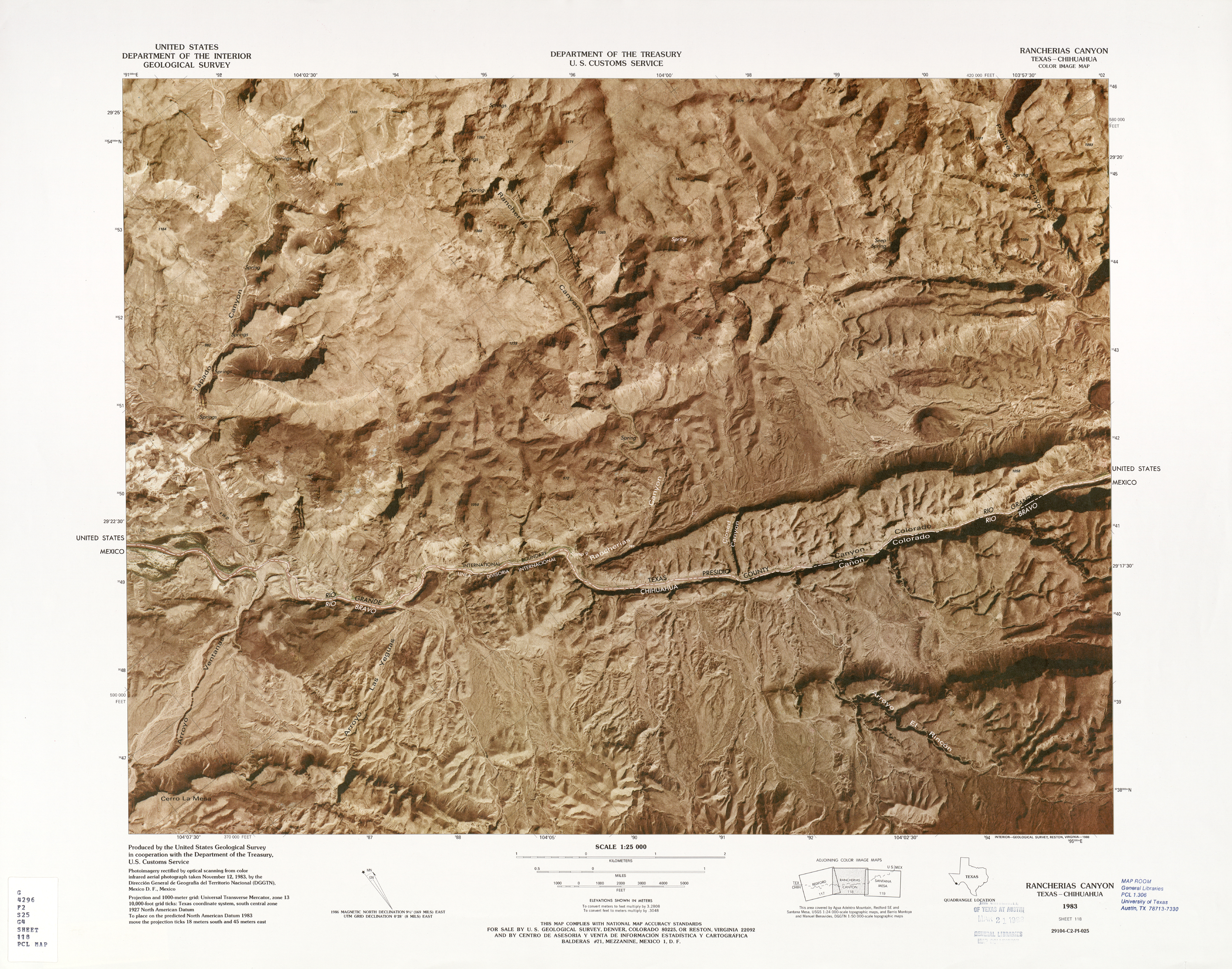 United States-Mexico Border Map, Rancherias Canyon