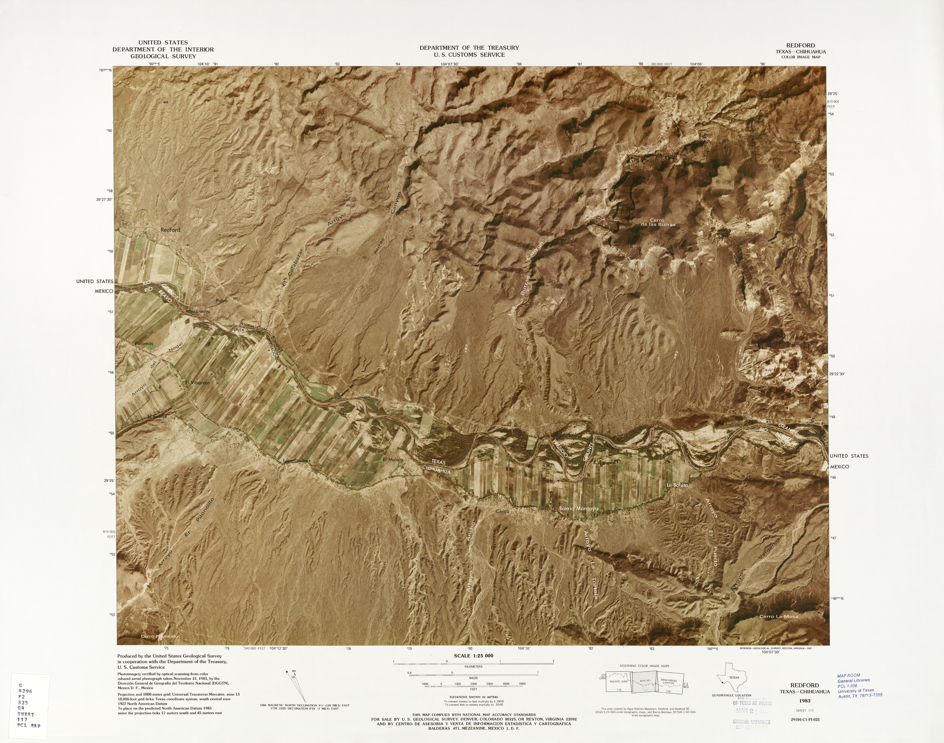 United States-Mexico Border Map, Redford