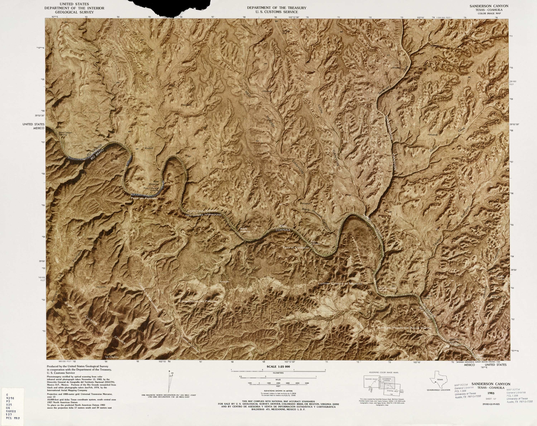 Mapa Fronterizo de México-Estados Unidos, Sanderson Canyon 1982