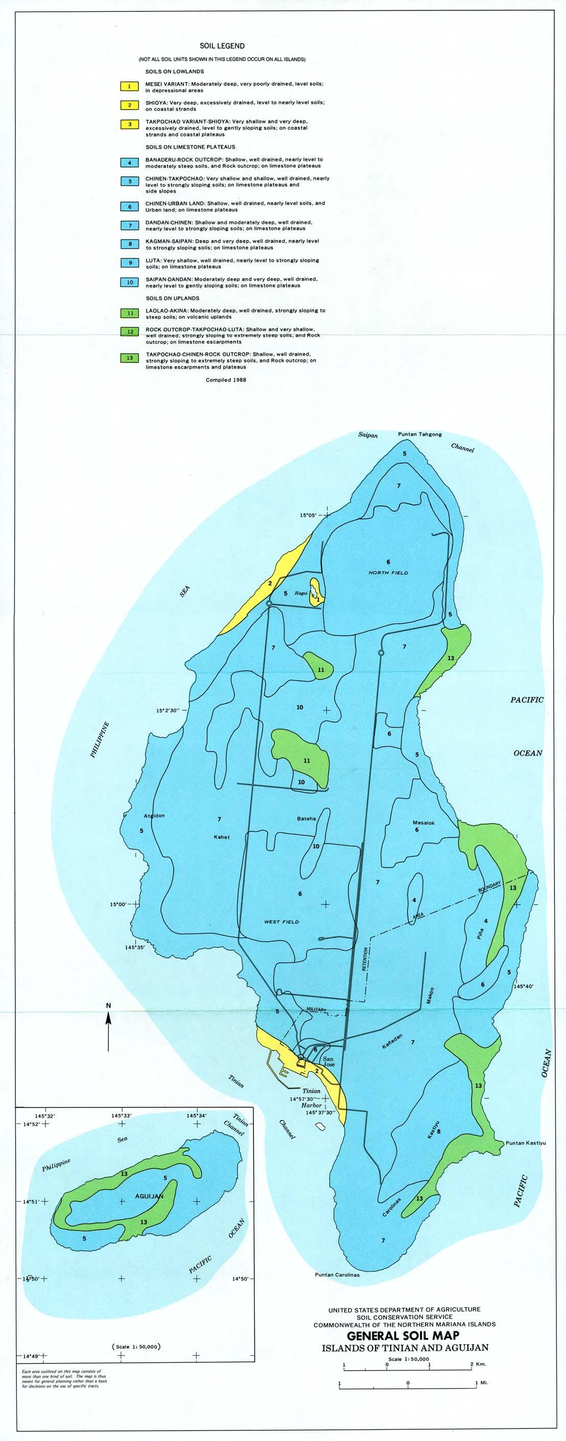 Mapa General de los Suelos de Tinian y Aguijan, Islas Marianas del Norte