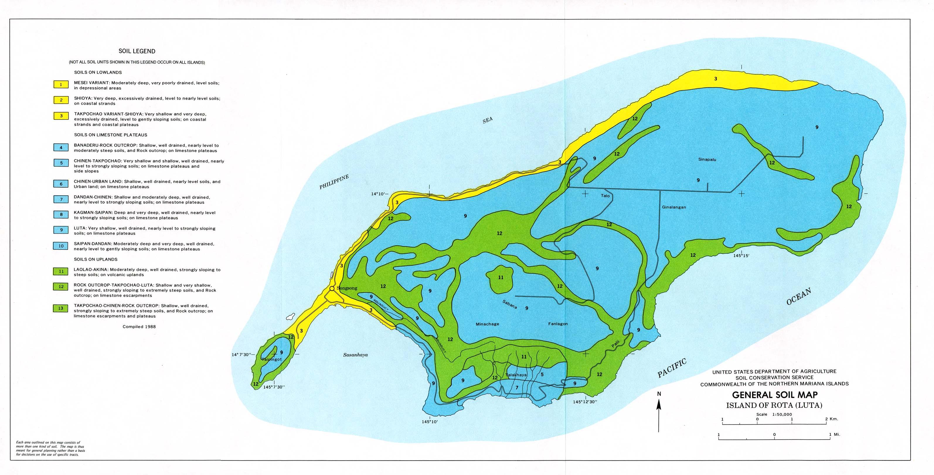 Mapa General de los Suelos de la Isla de Rota (Luta), Islas Marianas del Norte