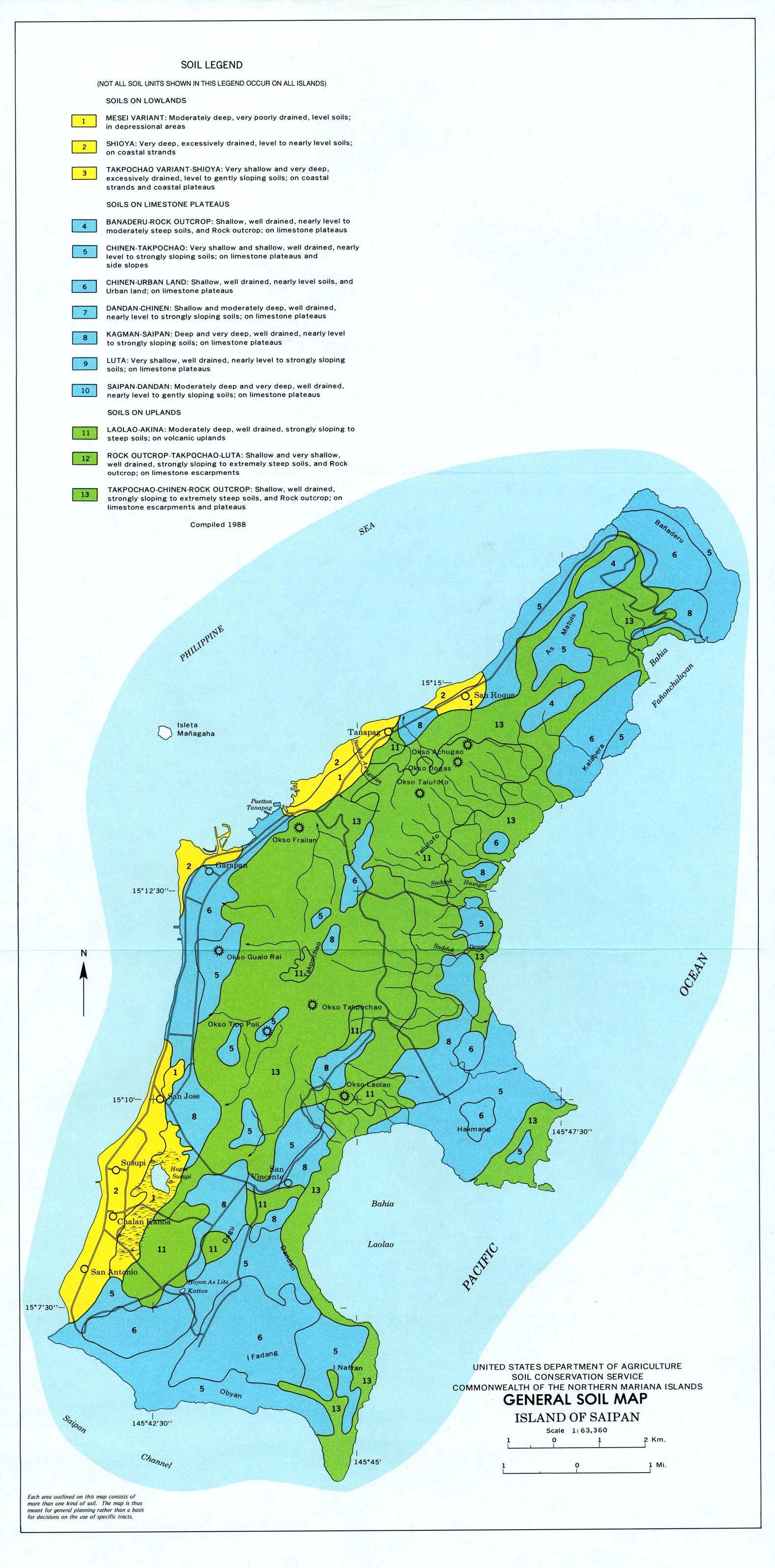 Mapa General de los Suelos de la Isla de Saipan, Islas Marianas del Norte