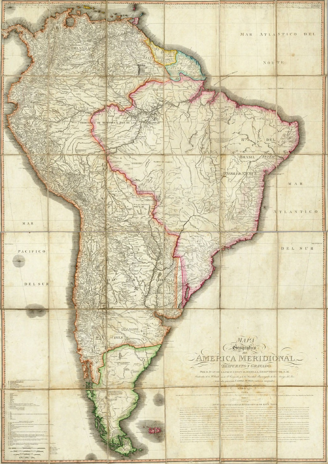 Geographic map of South America 1775