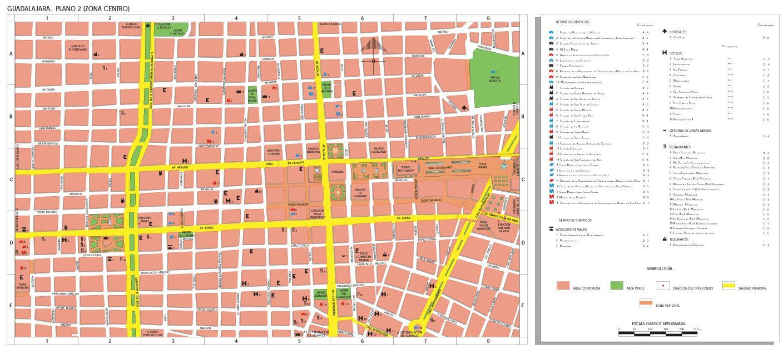 Mapa Guadalajara (Centro), Jalisco, Mexico