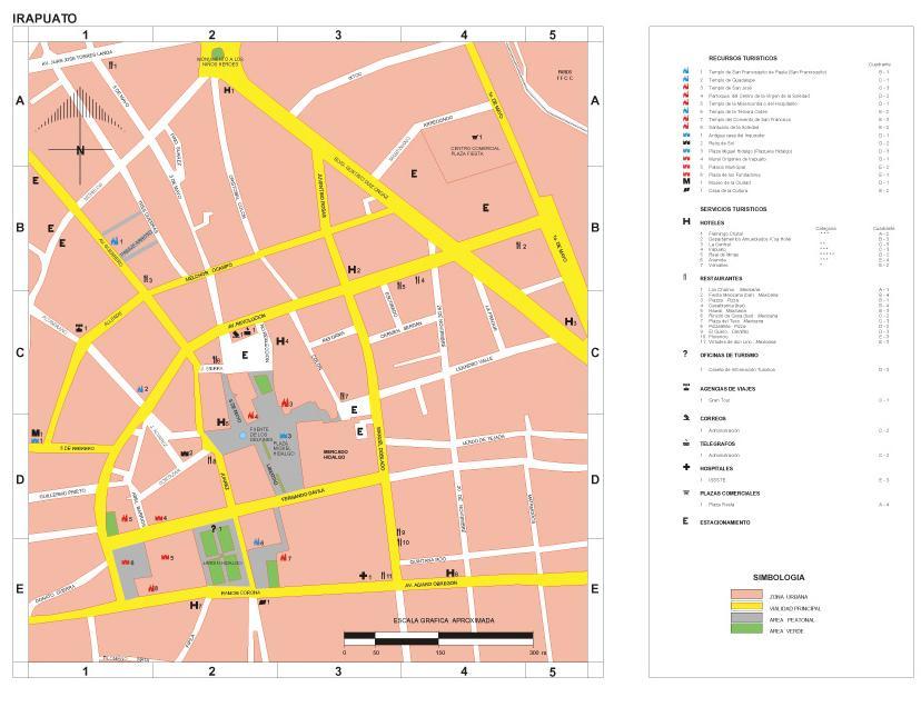 Irapuato Map, Guanajuato, Mexico