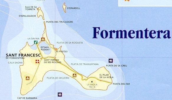 Map of Formentera Island, Balearic Islands, Spain