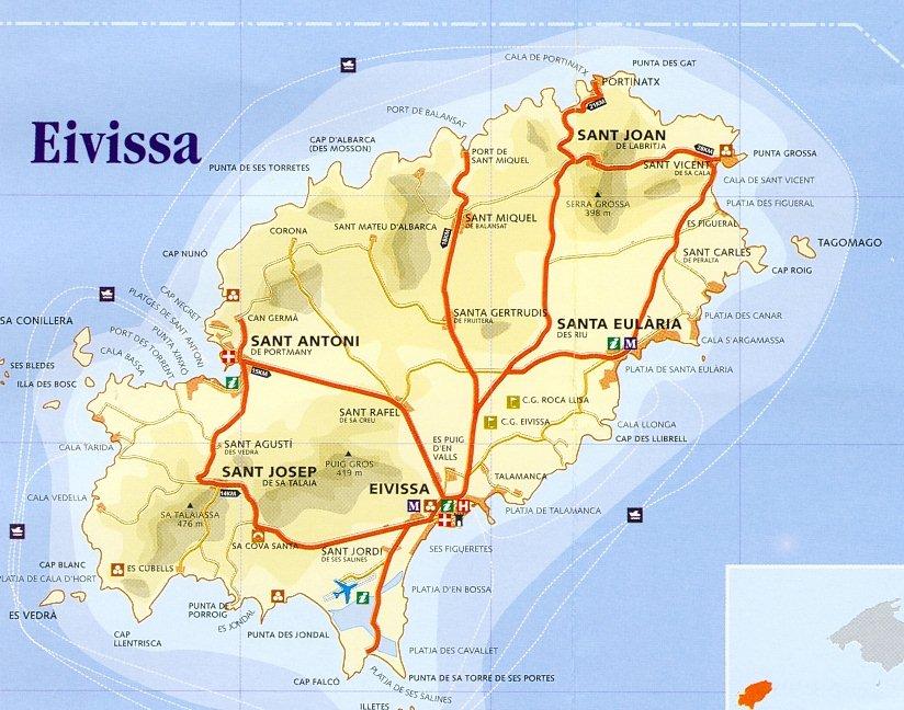 Mapa Isla Ibiza, España