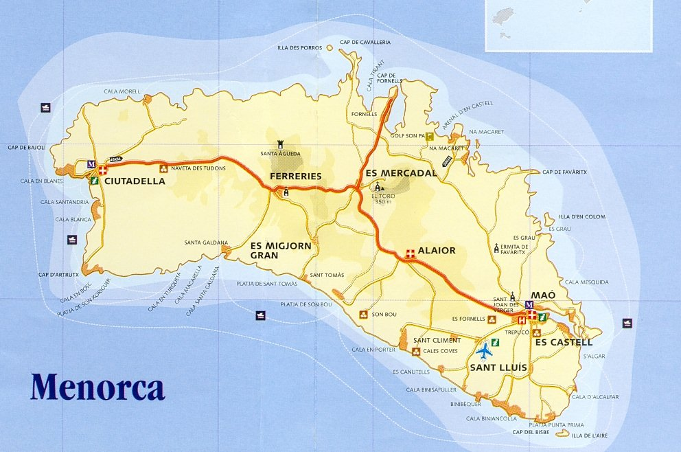 Map, Menorca Island, Balearic Islands, Spain