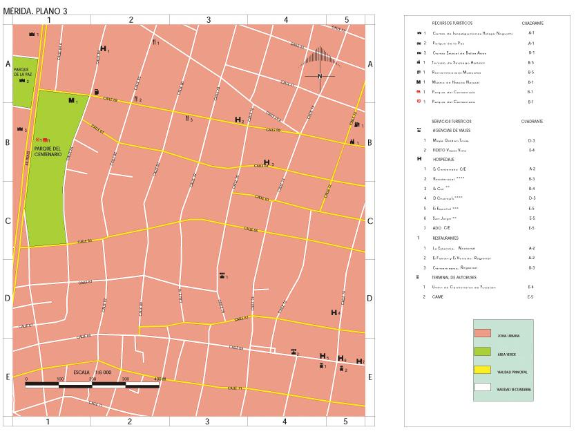 Merida Map (Downtown 1), Yucatan, Mexico
