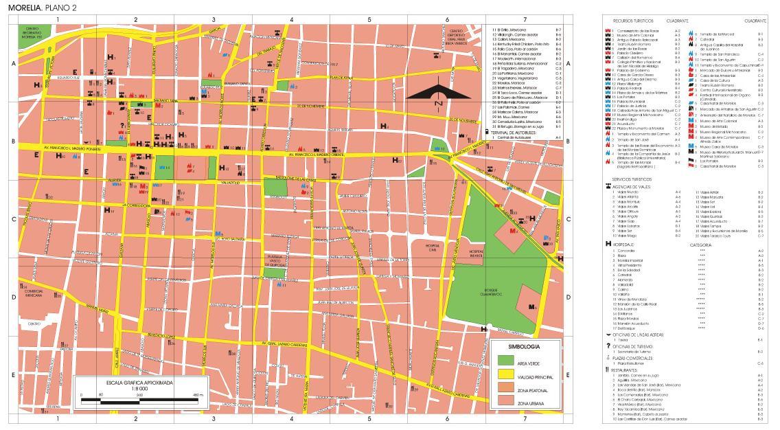Morelia (Downtown) Map, Michoacan, Mexico