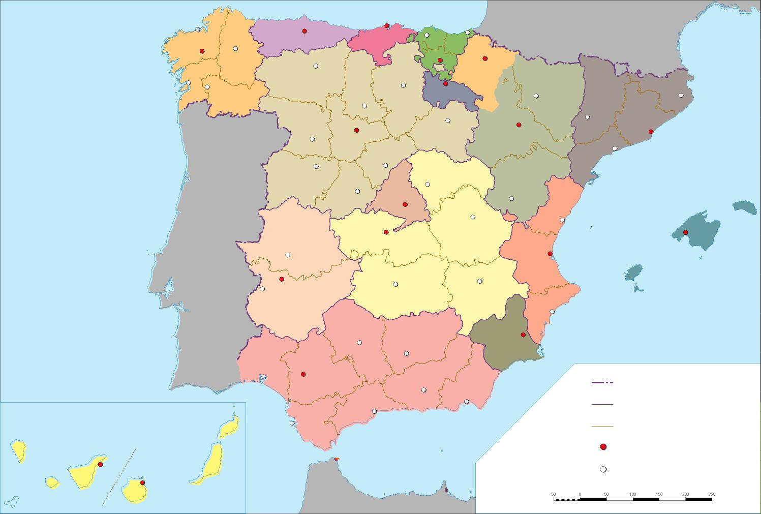 Mapa Mudo coloreado de las Comunidades Autónomas de España