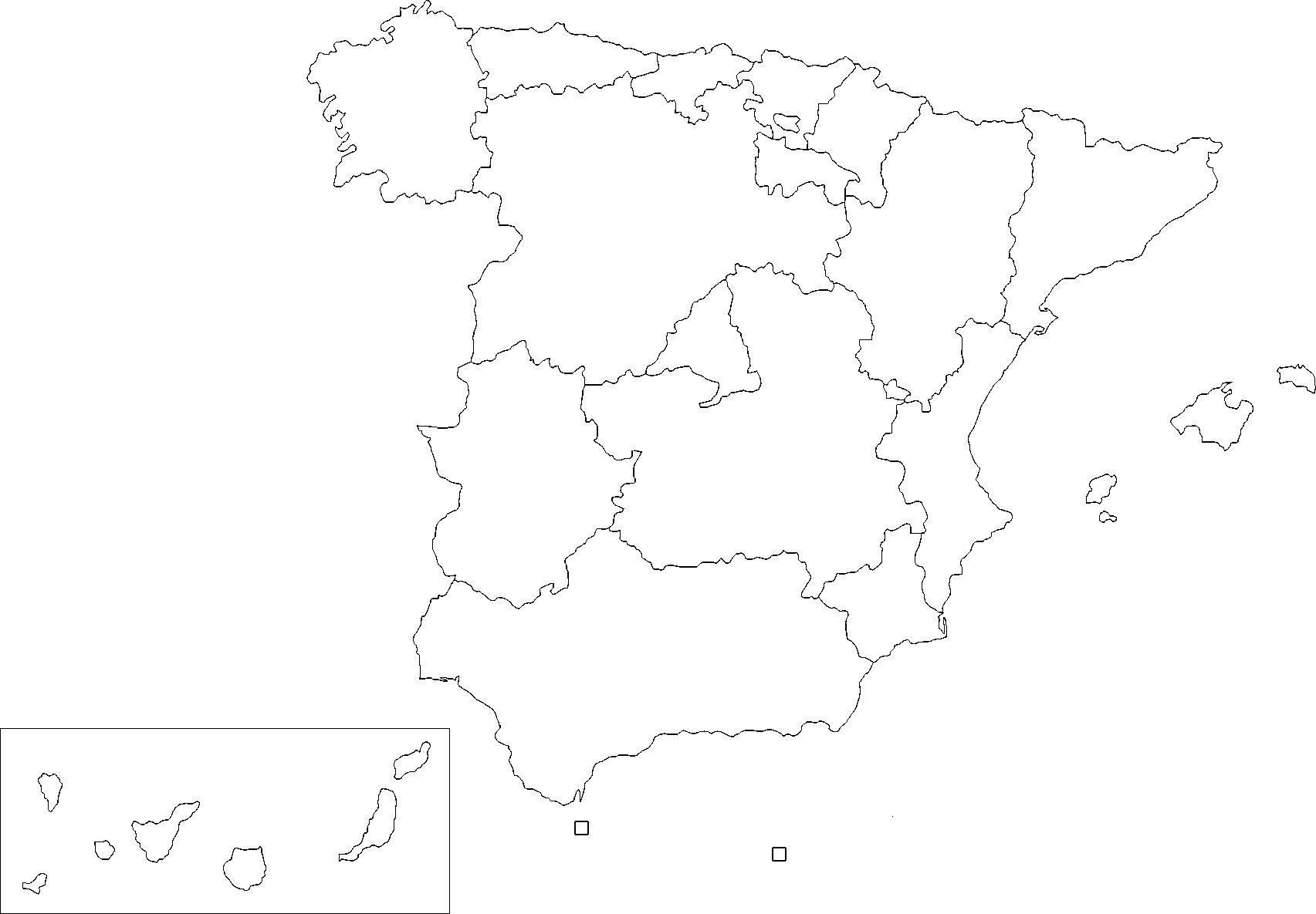 Mapa Mudo de España mostrando sus Comunidades Autónomas