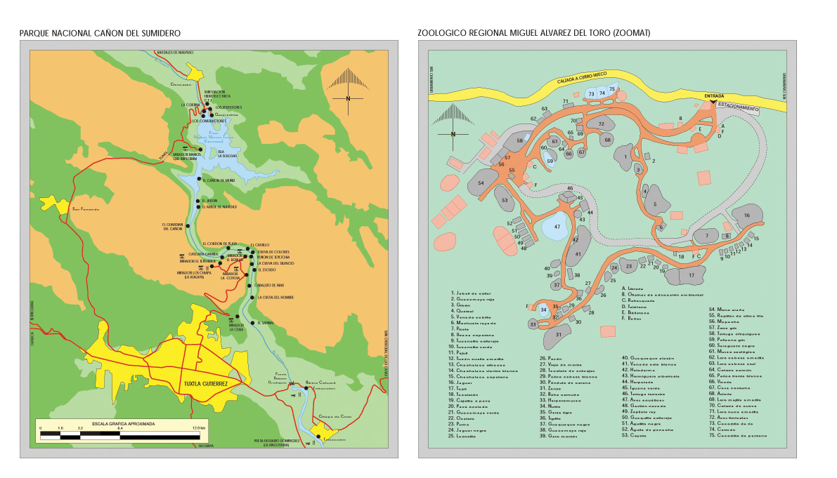 Canyon del Sumidero (National Park) Map, Chiapas, Mexico