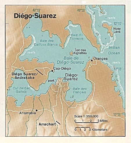 Mapa Político Pequeña Escala de la Región de Antsiranana (Diego Suarez), Madagascar
