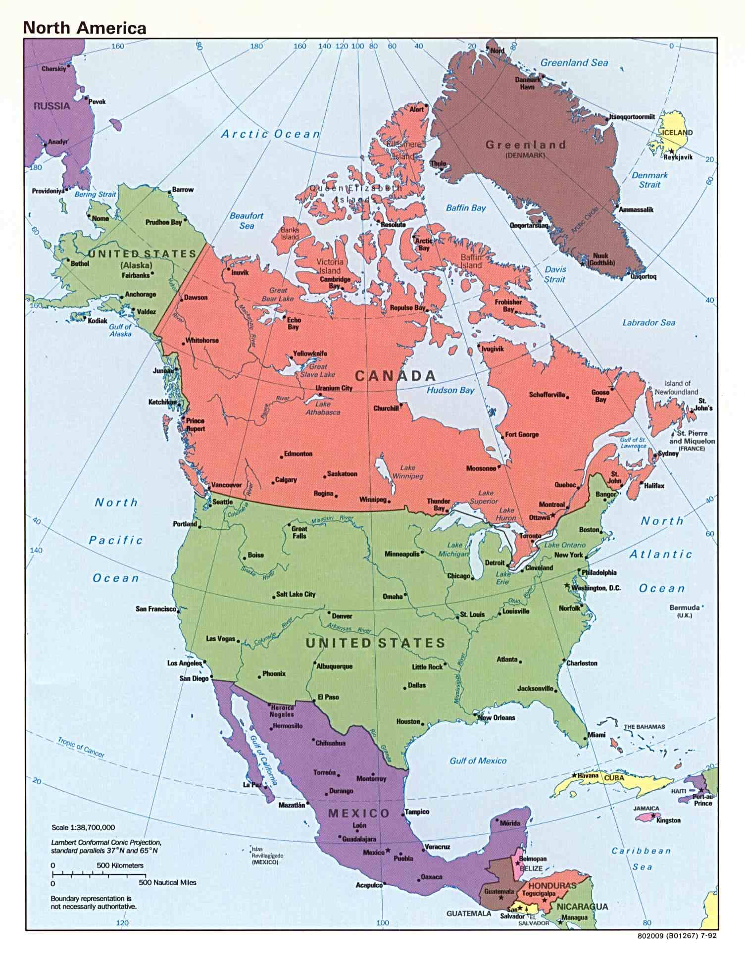 Mapa Político de América del Norte 1992