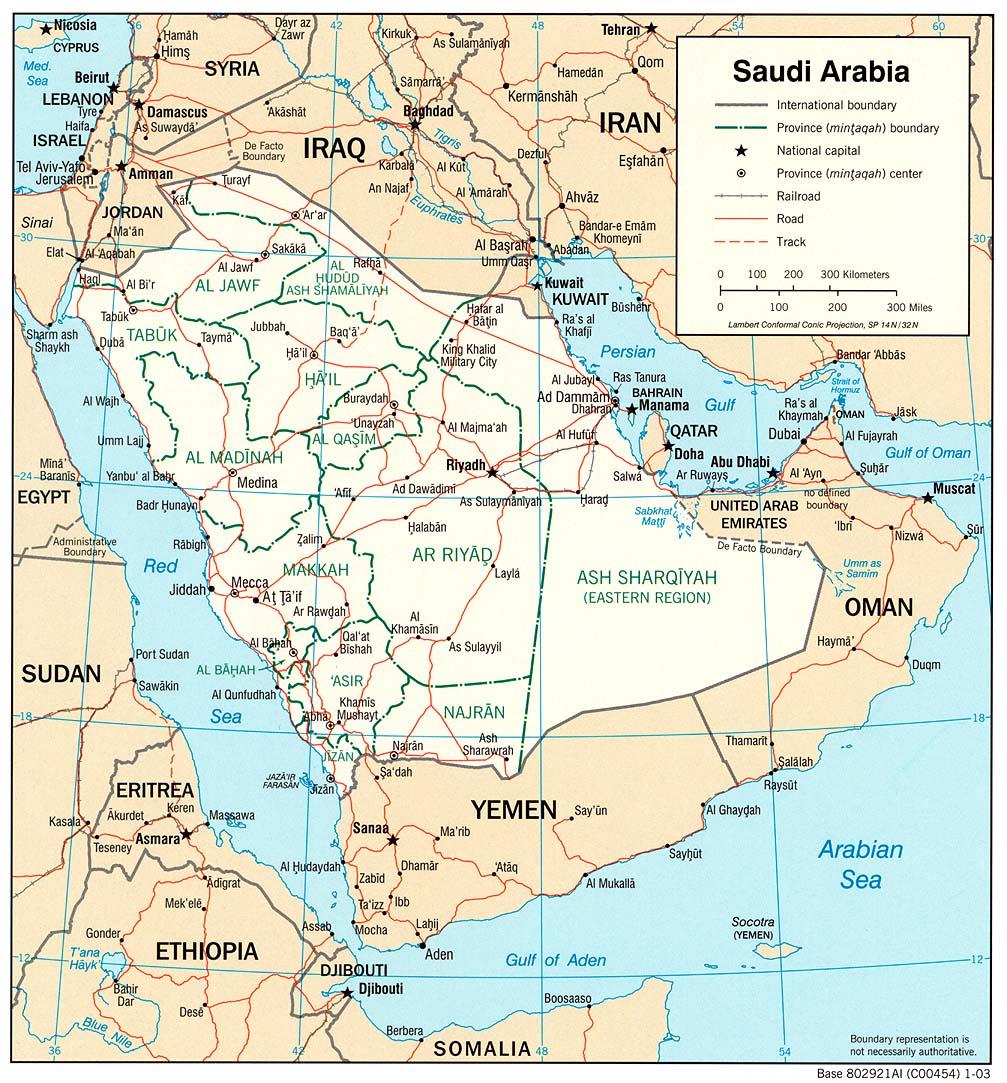 Mapa Politico de Arabia Saudita