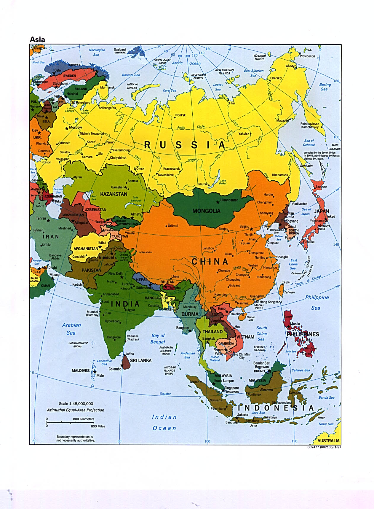 Mapa Politico de Asia 1997